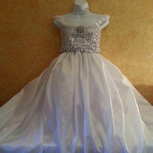 Dresses & Skirts - Illusion Diamond Look Taffeta Wedding Ballgown Set